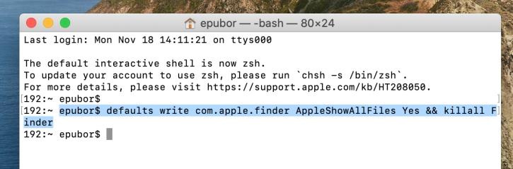 Macで隠しフォルダを表示する方法