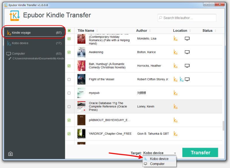 Kindle Kobo 変換用Kindle 転送
